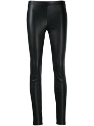 Vince Slim Fit Leather Trousers Black