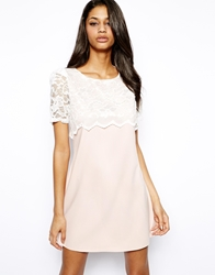 John Zack Shift Dress With Lace Panel Softpink