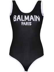 Balmain Scoop Back Logo Bodysuit Black