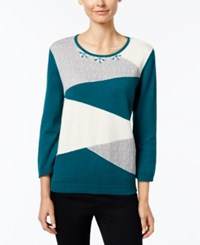 Alfred Dunner Colorblocked Beaded Neck Sweater Mallard