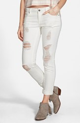 Junior Women's Vigoss 'Tomboy' Destroyed Skinny Jeans Off White