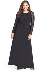Marina Plus Size Women's Beaded A Line Jersey Gown Black