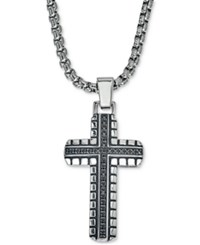 Esquire Men's Jewelry Diamond Cross Pendant Necklace 1 3 Ct. T.W. In Stainless Steel Only At Macy's Black