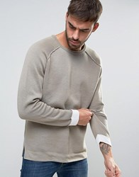 Asos Heavyweight Cotton Jumper In Beige Faded Olive Green