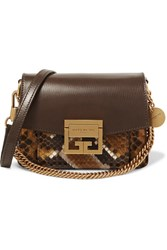 Givenchy Gv3 Mini Textured Leather And Python Shoulder Bag Brown Gbp
