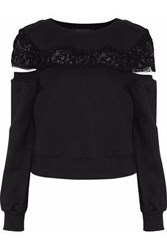 W118 By Walter Baker Casey Cold Shoulder Lace Paneled French Cotton Blend Terry Sweatshirt Black
