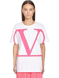 Valentino Go Logo Print Regular Cotton T Shirt White