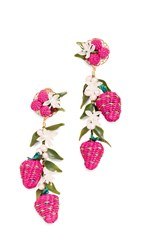 Mercedes Salazar Tropics Strawberry Earrings Pink Green