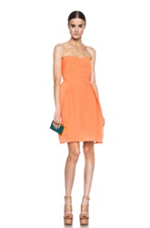 Carven Blistered Organza Dress In Orange Neon