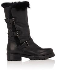 Sartore Women's Fur Lined Moto Boots Black