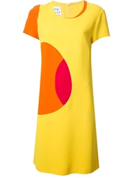 Moschino Vintage Geometric Colour Block Dress Yellow And Orange