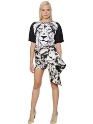 Roberto Cavalli Lion Printed Cotton Jersey T Shirt