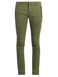 Balmain Zip Detail Skinny Fit Jeans Green