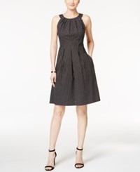 Nine West Polka Dot Fit And Flare Dress Black White