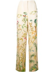 Alberta Ferretti Floral High Waisted Trousers Multicolour