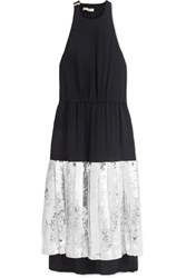 Tibi Claude Silk Georgette And Sequined Cotton Dress Navy