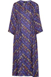 Isabel Marant Tizy Pleated Printed Silk Midi Dress Royal Blue