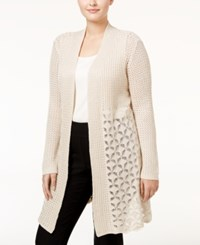 Belldini Plus Size Open Front Pointelle Cardigan Heather Oatmeal