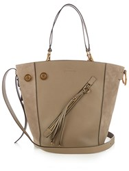 Chloe Meyer Medium Leather And Suede Tote Grey