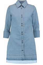 J Brand Bacall Denim Mini Shirt Dress Light Denim