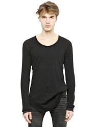 Balmain Ribbed Long Sleeves Cotton T Shirt