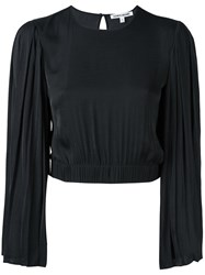 Elizabeth And James Pleated Sleeve Cropped Blouse Black
