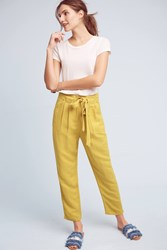 Anthropologie Pleated Tie Waist Pants Gold