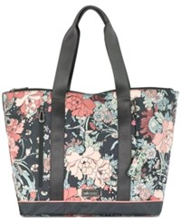 Sakroots New Adventure Tote Charcoal Flower Power Silver