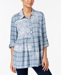 Style And Co Mixed Print Roll Tab Blouse Only At Macy's Plaid Parade