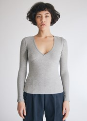 Which We Want Hollie V Neck Top In Heather Grey Size Extra Small Spandex