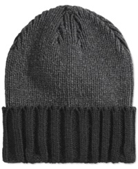 Alfani Red Cuffed Beanie Heathered Charcoal