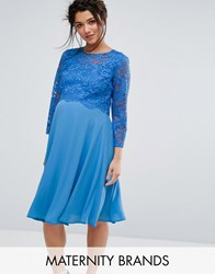 Queen Bee Lace Overlay Midi Swing Dress With 3 4 Sleeve Blue
