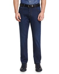 Ermenegildo Zegna Five Pocket Regular Fit Stretch Denim Jeans Blue