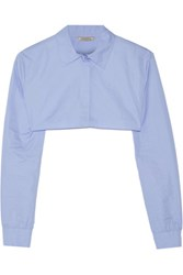 Nina Ricci Cropped Cotton Poplin Shirt Light Blue