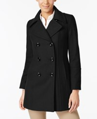 Anne Klein Double Breasted Wool Blend Peacoat Black