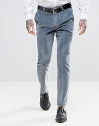 Noose And Monkey Super Skinny Suit Trousers In Velvet Blue