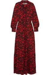 Mcq By Alexander Mcqueen Pussy Bow Printed Silk Crepe De Chine Maxi Dress Red