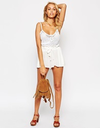 Asos Woven Shorts With Paperbag Tie Waist White
