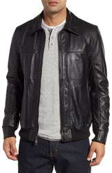 Andrew Marc New York Vaughn Shirt Collar Leather Bomber Jacket Black