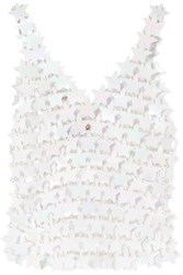 Paco Rabanne Paillette Embellished Chainmail Top White