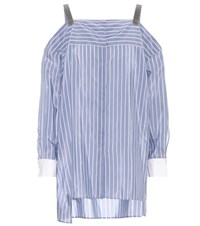 Brunello Cucinelli Cotton And Silk Off The Shoulder Top Blue