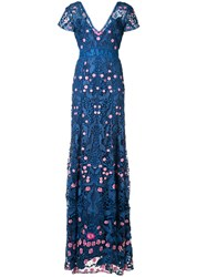 Marchesa Notte V Neck Floral Dress Blue