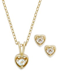 Lily Nily Children's 18K Gold Over Sterling Silver Necklace And Earrings Set March Birthstone Aqua Topaz Heart Pendant And Stud Earrings Set 1 5 Ct. T.W.
