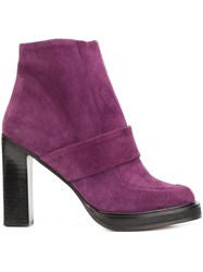 Carven Strap Detail Ankle Boots Pink Purple