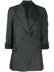 Brunello Cucinelli Double Breasted Fitted Blazer Grey