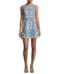 Alice Olivia Lindsey Embroidered A Line Denim Mini Dress Indigo White Multi