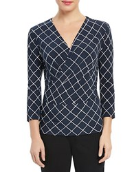 Ellen Tracy Surplice Wrap Top Navy Multi