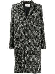 Saint Laurent Chevron Pattern Single Breasted Coat Black