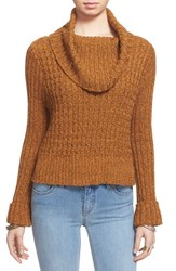 Women's Free People 'Twisted Cable' Turtleneck Sweater Mustard Combo