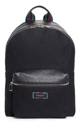 Paul Smith Men's Leather Trim Canvas Backpack Black